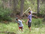 Boys sword fighting in the forest